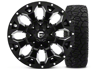 Fuel Wheels Assault Black Machined - 17x9 Wheel - and Dick Cepek Fun Country Tire - 315/70R17 (07-18 Jeep Wrangler JK; 2018 Jeep Wrangler JL)
