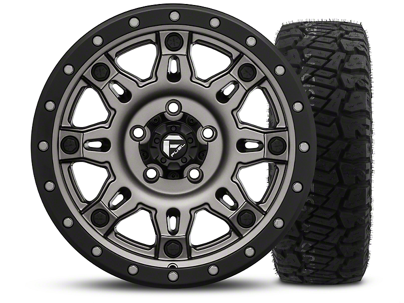 Fuel Wheels Hostage III Gunmetal and Black 17x9 Wheel and Dick Cepek Fun Country 315/70R17 Tire Kit (07-18 Jeep Wrangler JK)