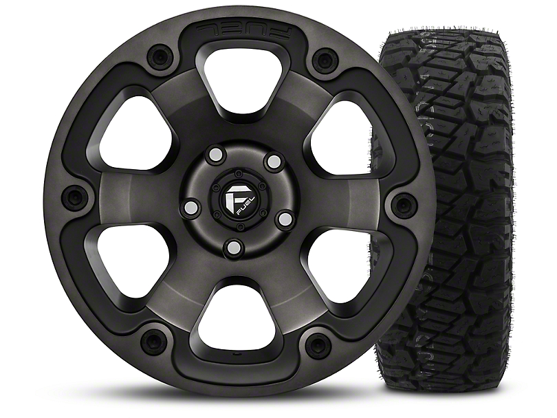 Fuel Wheels Beast Black Machined 17x9 Wheel and Dick Cepek Fun Country 315/70R17 Tire Kit (07-18 Jeep Wrangler JK)
