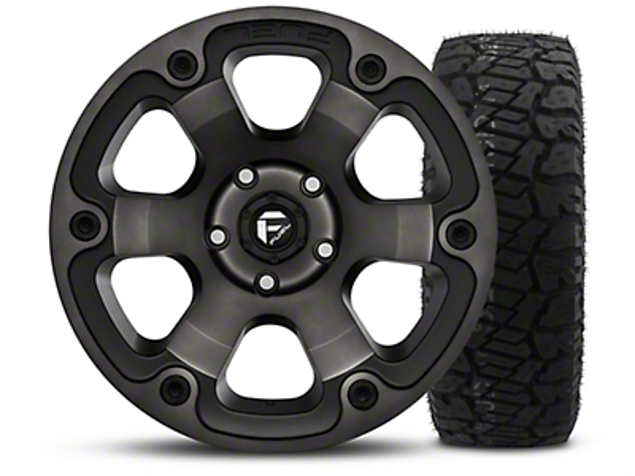 Fuel Wheels Beast Black Machined - 17x9 Wheel - and Dick Cepek Fun Country Tire - 315/70R17 (07-18 Jeep Wrangler JK; 2018 Jeep Wrangler JL)