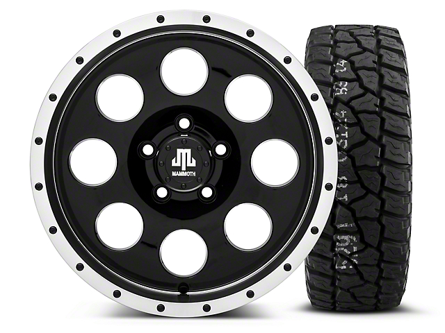 Mammoth 8 Beadlock Style Black - 16x8 Wheel - and Mickey Thompson Baja ATX P3 Tire - 315/75R16 (87-06 Wrangler YJ & TJ)
