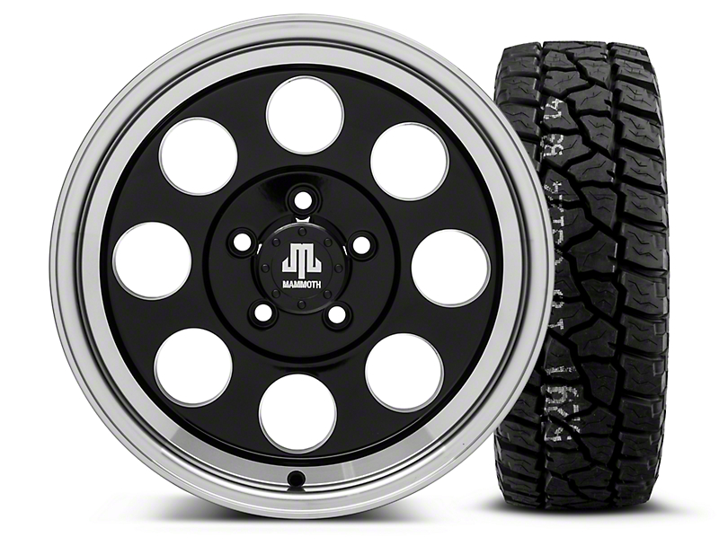 Mammoth 8 Black - 16x8 Wheel - and Mickey Thompson Baja ATX P3 Tire - 315/75R16 (87-06 Wrangler YJ & TJ)