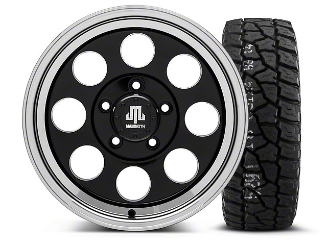 Mammoth 8 Black - 16x8 Wheel - and Mickey Thompson Baja ATX P3 Tire - 315/75R16 (07-18 Jeep Wrangler JK)
