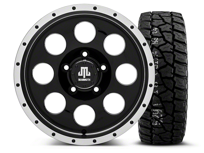 Mammoth 8 Beadlock Style Black - 16x8 Wheel - and Mickey Thompson Baja ATX P3 Tire - 315/75R16 (07-18 Wrangler JK)