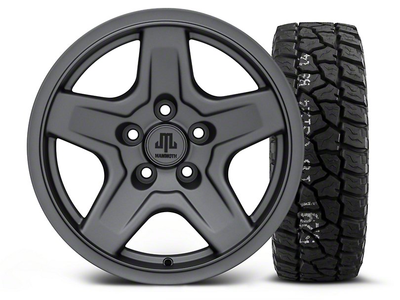 Mammoth Boulder Charcoal - 16x8 Wheel - and Mickey Thompson Baja ATX P3 Tire - 315/75R16 (87-06 Jeep Wrangler YJ & TJ)