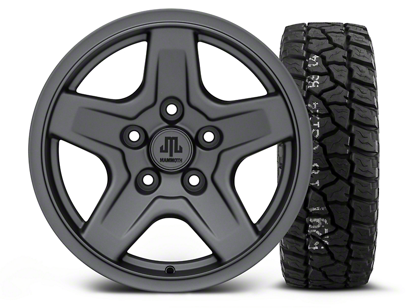 Mammoth Boulder Charcoal - 16x8 Wheel - and Mickey Thompson Baja ATX P3 Tire - LT315/75R16 (07-18 Jeep Wrangler JK)