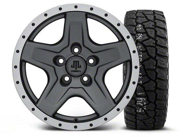 Mammoth Boulder Beadlock Style Charcoal - 16x8 Wheel - and Mickey Thompson Baja ATX P3 Tire - 315/75R16 (87-06 Jeep Wrangler YJ & TJ)