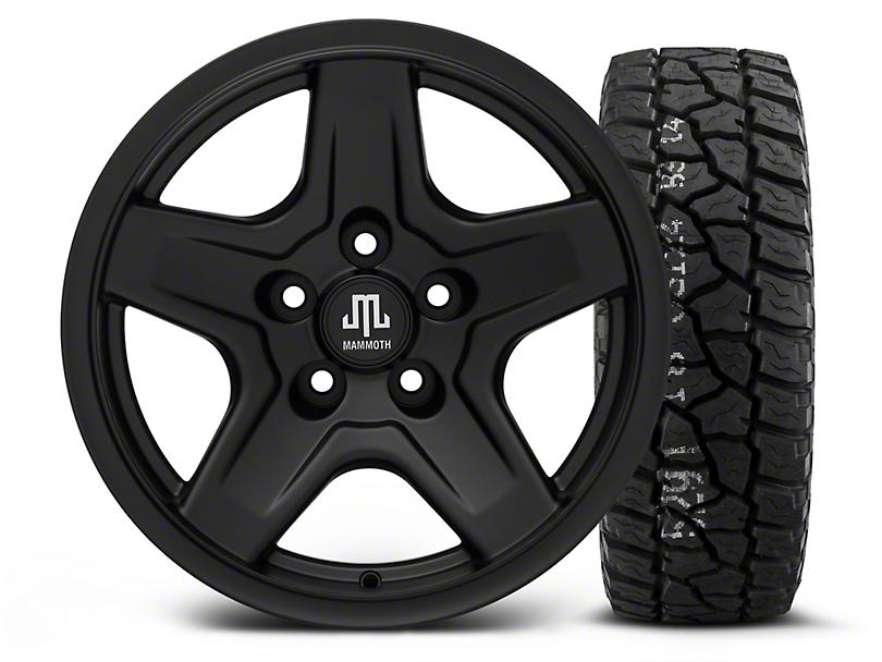 Mammoth Boulder Black - 16x8 Wheel - and Mickey Thompson Baja ATX P3 Tire - 315/75R16 (87-06 Jeep Wrangler YJ & TJ)