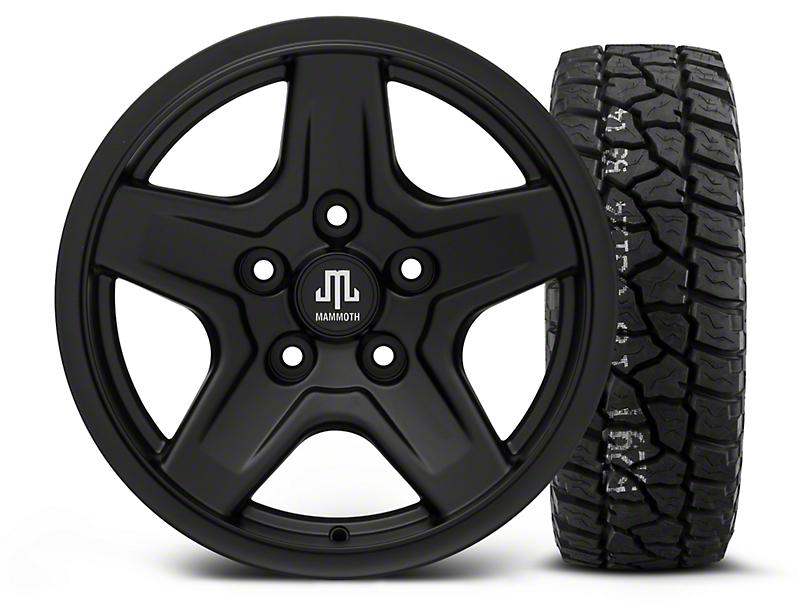 Mammoth Boulder Black - 16x8 Wheel - and Mickey Thompson Baja ATZ P3 Tire - 315/75R16 (07-18 Jeep Wrangler JK)
