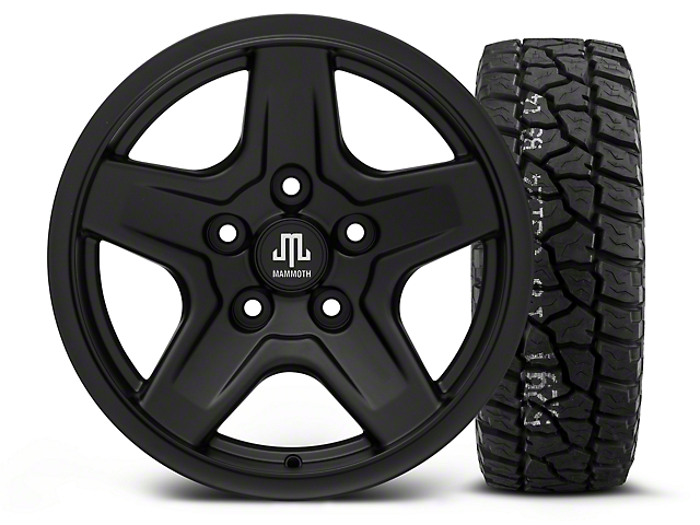 Mammoth Boulder Black - 16x8 Wheel - and Mickey Thompson Baja ATZ P3 Tire - 315/75R16 (07-18 Wrangler JK)