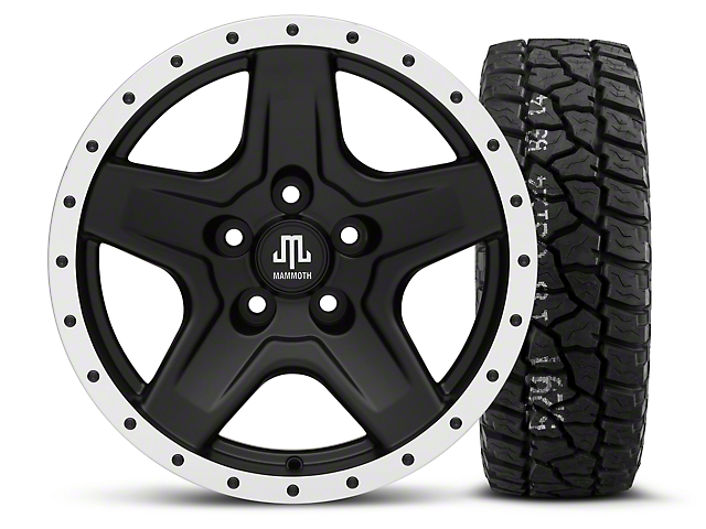 Mammoth Boulder Beadlock Style Black - 16x8 Wheel - and Mickey Thompson Baja ATX P3 Tire - 315/75R16 (87-06 Wrangler YJ & TJ)
