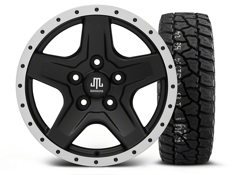 Mammoth Boulder Beadlock Style Black - 16x8 Wheel - and Mickey Thompson Baja ATX P3 Tire - 315/75R16 (07-18 Wrangler JK)