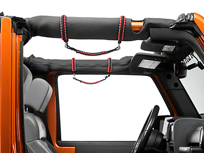 RedRock 4x4 Front Rollbar Paracord Grab Handles with D-rings - Black and Red (07-18 Wrangler JK)
