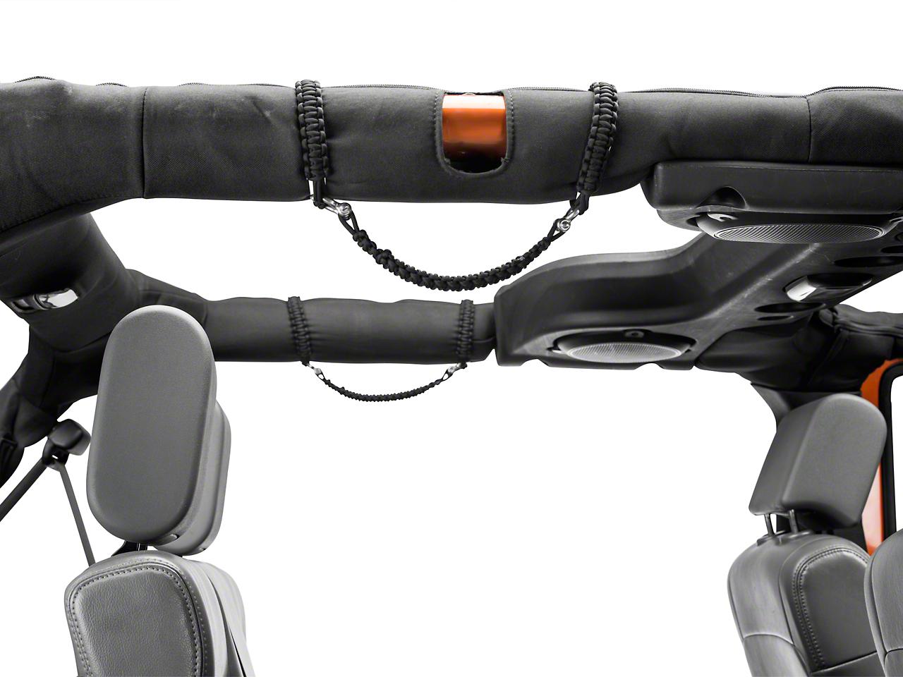 RedRock 4x4 Rear Rollbar Paracord Grab Handles with D-rings - Black (07-18 Wrangler JK 4 Door)