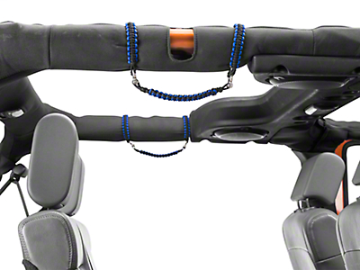 RedRock 4x4 Rear Rollbar Paracord Grab Handles with D-rings - Black and Blue (07-18 Jeep Wrangler JK 4 Door; 2018 Jeep Wrangler JL 4 Door)
