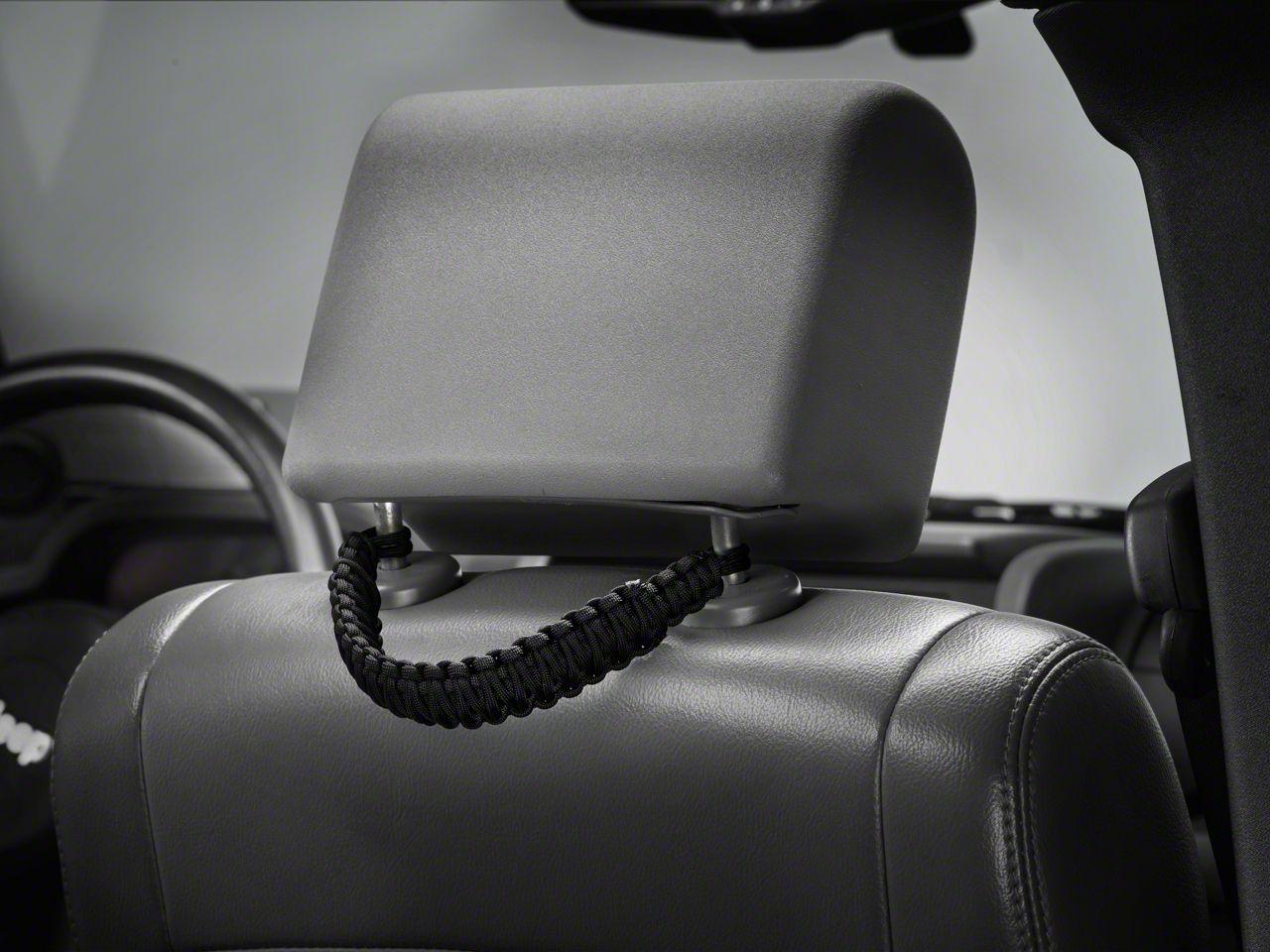 RedRock 4x4 Headrest Paracord Grab Handles - Black (07-19 Jeep Wrangler JK & JL)