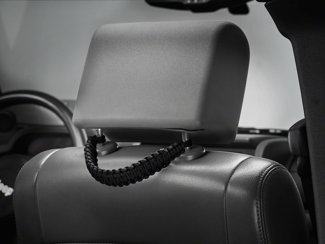 RedRock 4x4 Headrest Paracord Grab Handles - Black (07-18 Jeep Wrangler JK; 2018 Jeep Wrangler JL)