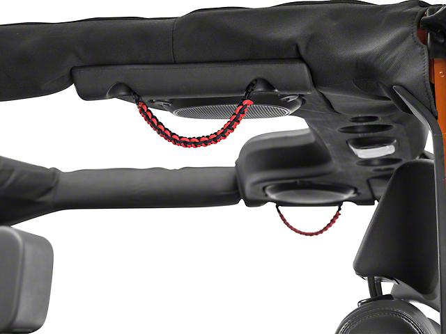 RedRock 4x4 Rear Soundbar Paracord Grab Handles - Black and Red (07-17 Jeep Wrangler JK 4 Door)