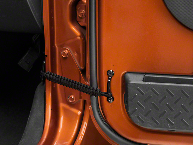 RedRock 4x4 Front Paracord Door Limit Straps; Black (07-18 Jeep Wrangler JK)