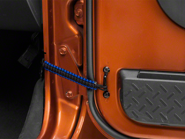 RedRock 4x4 Front Paracord Door Limit Straps - Black and Blue (07-18 Jeep Wrangler JK)