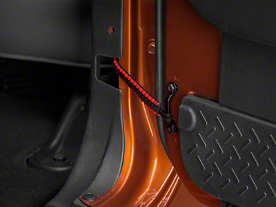 RedRock 4x4 Rear Paracord Door Limit Straps - Black and Red (07-18 Jeep Wrangler JK 4 Door)