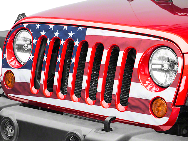SEC10 Full Color American Flag Grille Decal (07-18 Jeep Wrangler JK)