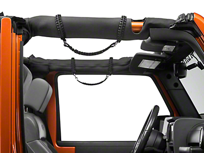 RedRock 4x4 Front Rollbar Paracord Grab Handles with D-rings - Black (07-18 Jeep Wrangler JK; 2018 Jeep Wrangler JL)