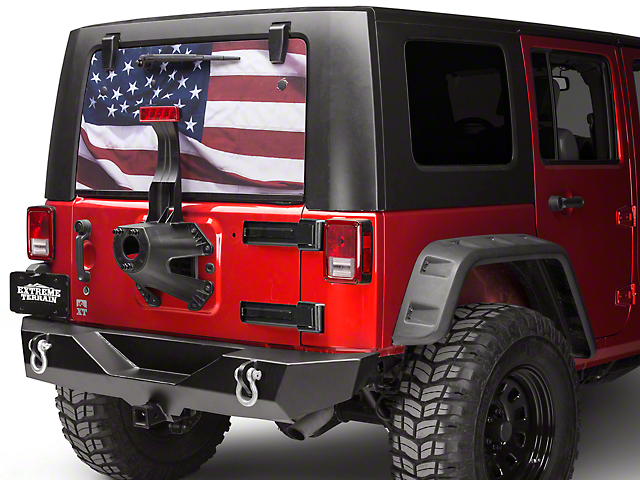 Wrangler Perforated Full Color American Flag Rear Window Decal - Rear window decals for vehicles