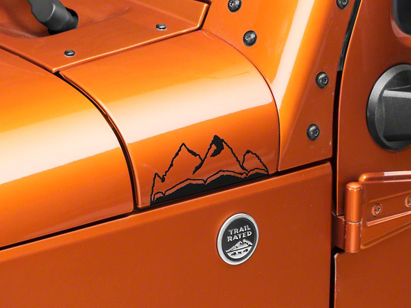 Small Mountain Graphic - Matte Black (87-19 Jeep Wrangler YJ, TJ, JK & JL)