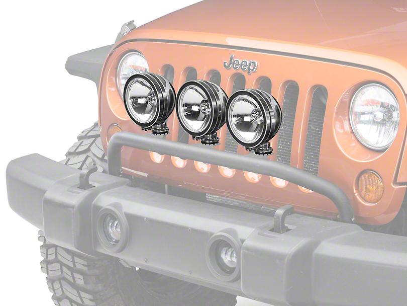 Rugged Ridge 6 in. Round HID Off-Road Fog Lights - Set of Three (87-18 Jeep Wrangler YJ, TJ & JK)