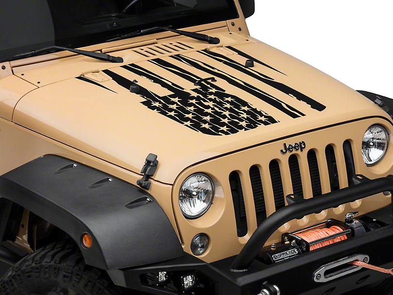 Distressed American Flag Hood Decal - Matte Black (07-18 Wrangler JK)
