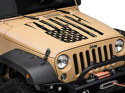 Distressed American Flag Hood Decal - Matte Black (07-17 Wrangler JK)
