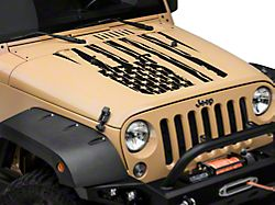 Distressed American Flag Hood Decal - Matte Black (07-18 Jeep Wrangler JK)