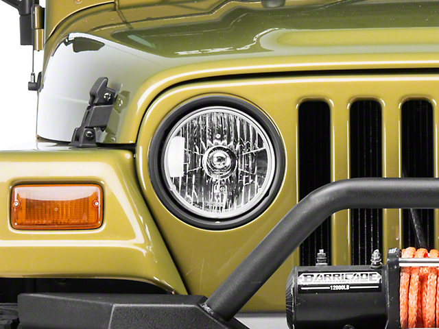 Rugged Ridge Crystal H2 Round Headlights; Chrome Housing; Clear Lens (97-06 Jeep Wrangler TJ)