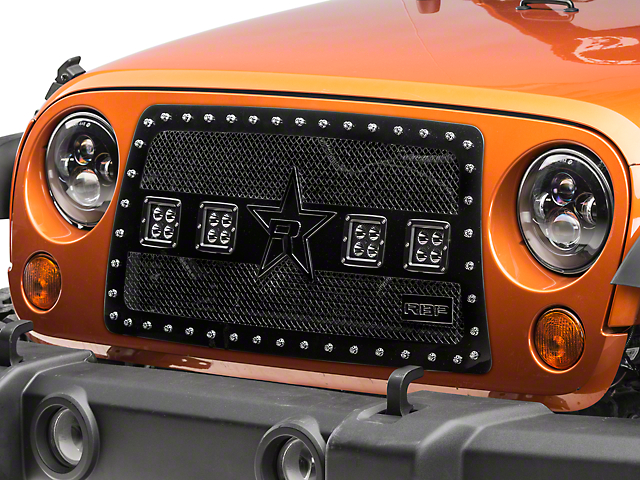 RBP RX-3 Midnight Edition Studded Double Woven Mesh Grille with LED Lights; Black (07-18 Jeep Wrangler JK)