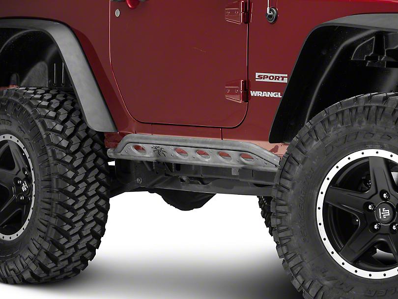 Poison Spyder Body Mounted Rocker Knockers - Bare Steel (07-18 Jeep Wrangler JK)