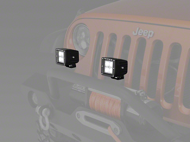 Raxiom 3-Inch Square 4-LED Off Road Light; Spot Beam