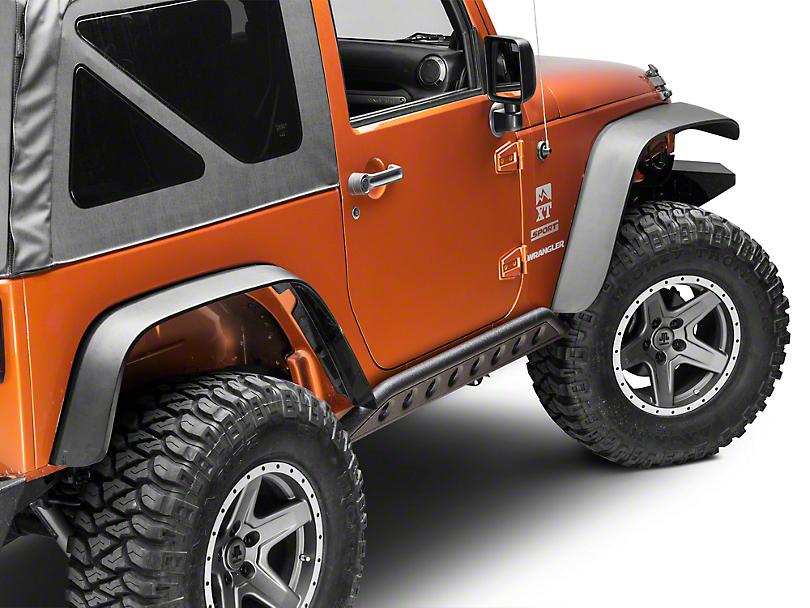 Smittybilt SRC Rocker Guards - Black Textured (07-18 Jeep Wrangler JK)