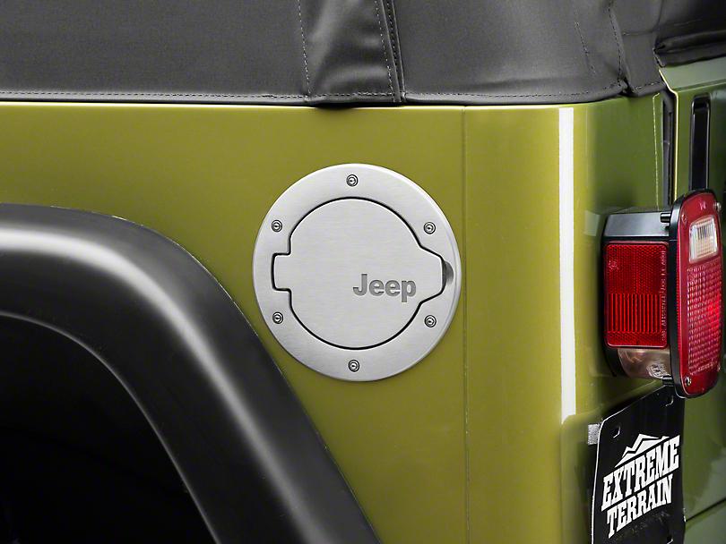 Mopar Brushed Aluminum Fuel Door w/ Jeep Logo (97-06 Jeep Wrangler TJ)