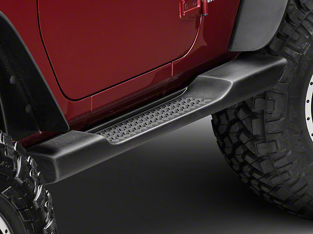 High Quality Mopar Factory Style Molded Side Step Bars   Black (07 18 Jeep Wrangler JK 2  Door)