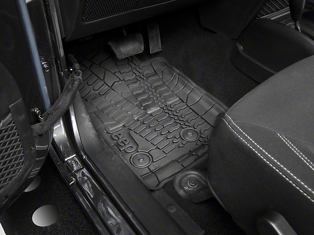 Mopar Slush All Weather Front & Rear Floor Mats w/ Jeep Logo - Black (14-18 Jeep Wrangler JK 4 Door)