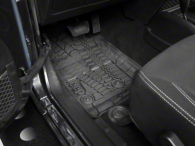 Mopar Slush All Weather Front & Rear Floor Mats w/ Jeep Logo - Dark Slate Grey (14-18 Wrangler JK 4 Door)