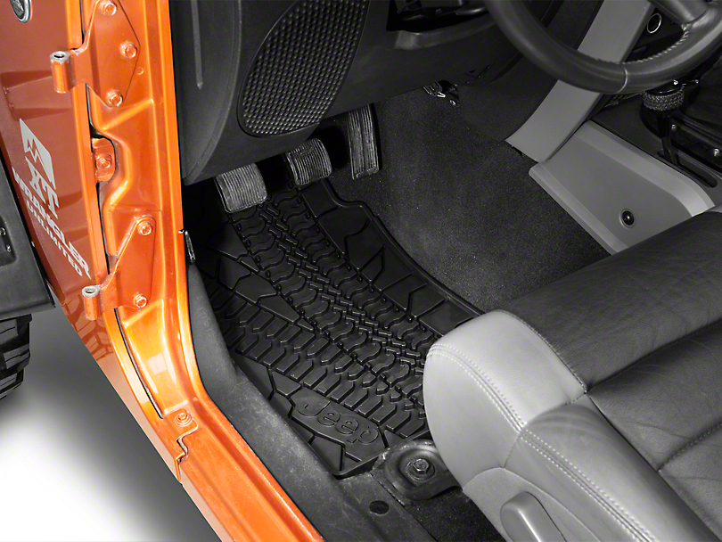 Mopar Slush All Weather Front Floor Mats w/ Jeep Logo - Dark Slate Gray (07-13 Wrangler JK)