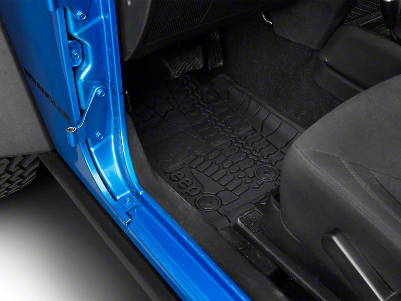 Mopar Slush All Weather Front Floor Mats w/ Jeep Logo - Dark Slate Gray (14-18 Jeep Wrangler JK 2 Door)