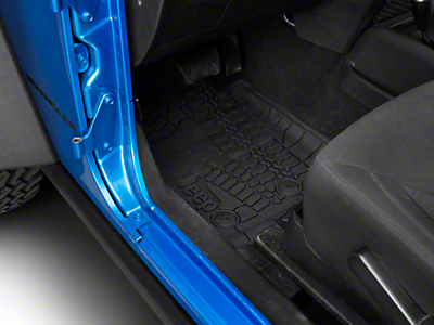Mopar Slush All Weather Front Floor Mats w/ Jeep Logo - Dark Slate Grey (14-18 Wrangler JK 2 Door)