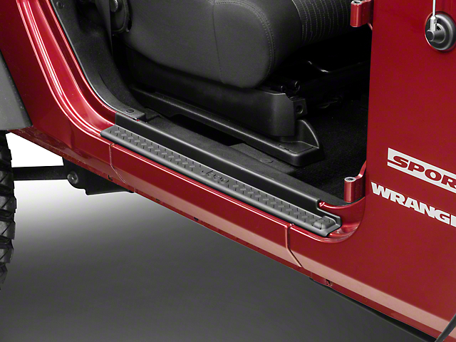 Mopar Door Sill Guards with Jeep Logo; Black Plastic (07-18 Jeep Wrangler JK 2 Door)