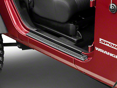 Mopar Door Sill Guards w/ Jeep Logo - Black Plastic (07-18 Jeep Wrangler JK 2 Door)