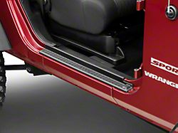 Mopar Door Sill Guards w/ Jeep Logo; Black Plastic (07-18 Jeep Wrangler JK 2 Door)