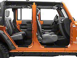 Mopar Door Sill Guards with Jeep Logo; Black Plastic (07-18 Jeep Wrangler JK 4 Door)