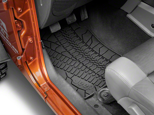 Mopar Slush All Weather Front & Rear Floor Mats w/ Jeep Logo - Dark Slate Gray (07-13 Wrangler JK 4 Door)